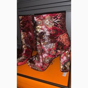 Multicolored Brocade Bootie
